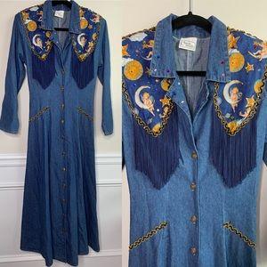 VINTAGE fringe embellished angel denim maxi dress